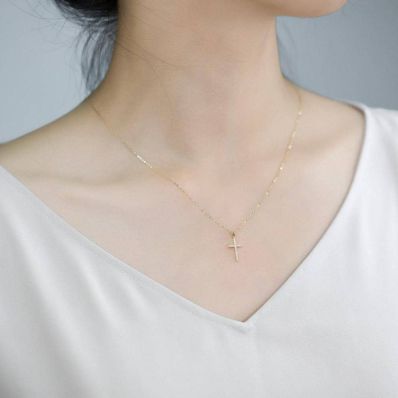 18k Solid Gold Classic Cross Diamond Necklace - Melbourne, Australia