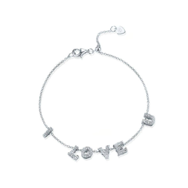 18k White Gold Alphabet Diamond Bracelet - PurpleMayJewellery