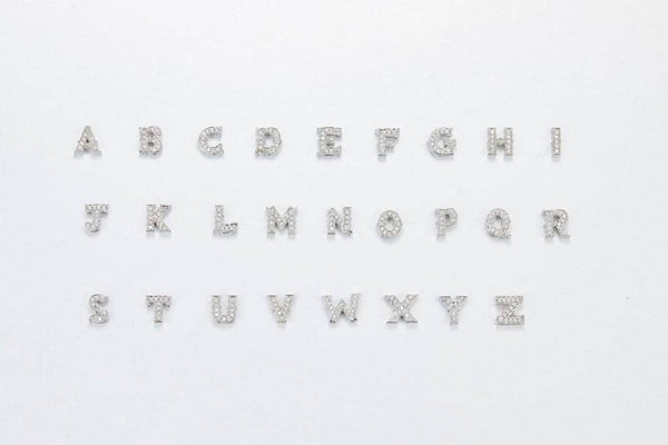 18k White Gold Alphabet Diamond Chain Ring and Charms - PurpleMayJewellery