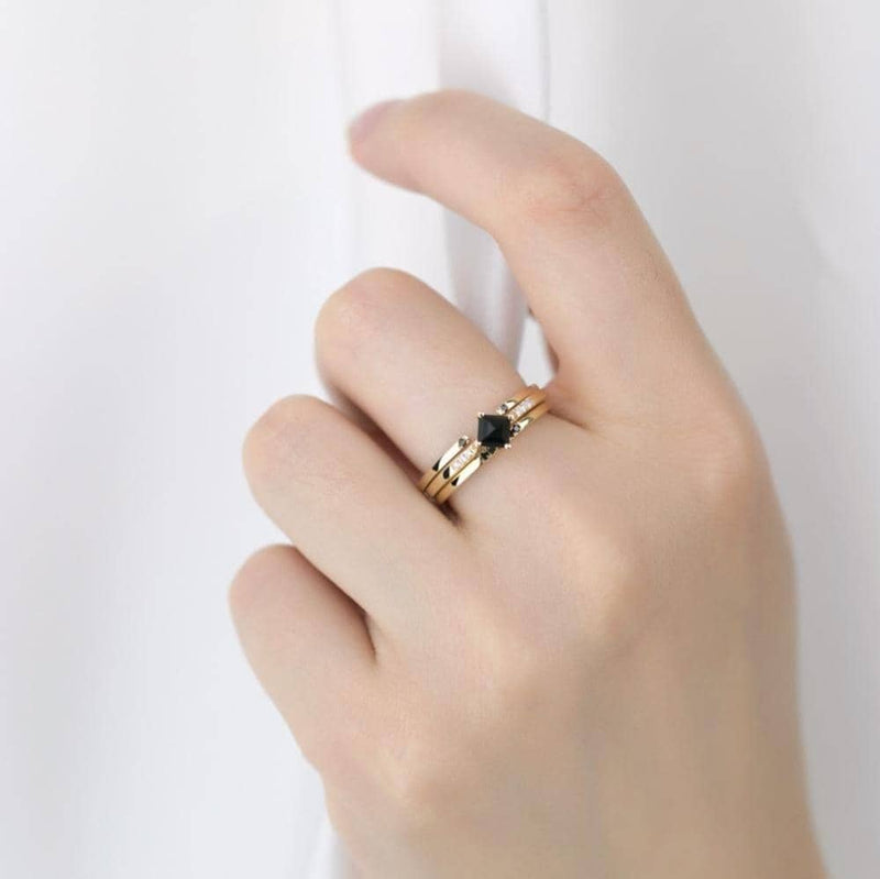 18k Solid Gold Black Square Onyx Diamond Ring - Melbourne, Australia