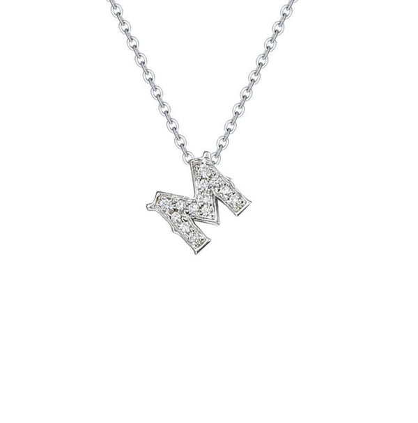 18k White Gold Alphabet Diamond Necklace - PurpleMayJewellery