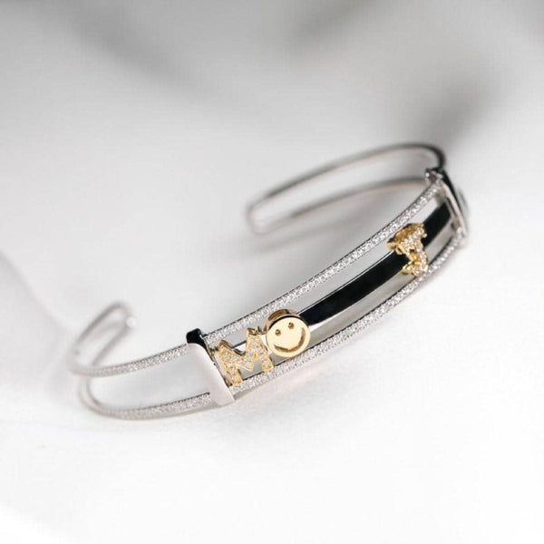 18k White Gold Alphabet Diamond Bangle - PurpleMayJewellery