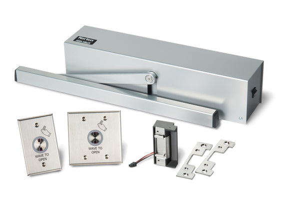 Buy Norton 5610 Series Surface Low Energy Door Operator Hands-Free Kit with HES Strikes for Cylindrical Locks - Aluminum Painted - OrchardLock.com