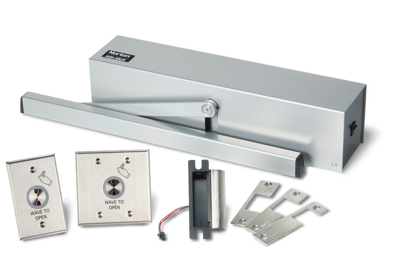 Buy Norton 5610 Series Surface Low Energy Door Operator Hands-Free Kit with HES Strikes for Mortise Locks - Aluminum Painted - OrchardLock.com