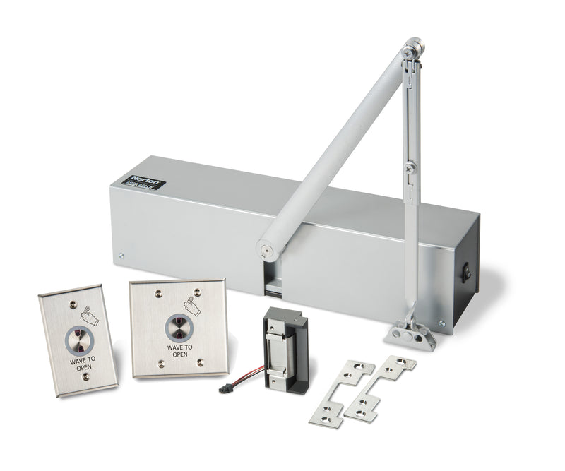 Buy Norton 5630 Series Surface Low Energy Door Operator Hands-Free Kit with HES Strikes for Cylindrical Locks - Aluminum Painted - OrchardLock.com