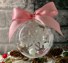 Load image into Gallery viewer, Personalised Snowflake Spherical Bauble