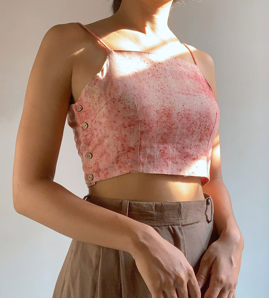 naturally dyed with madder  pink hand made crop top