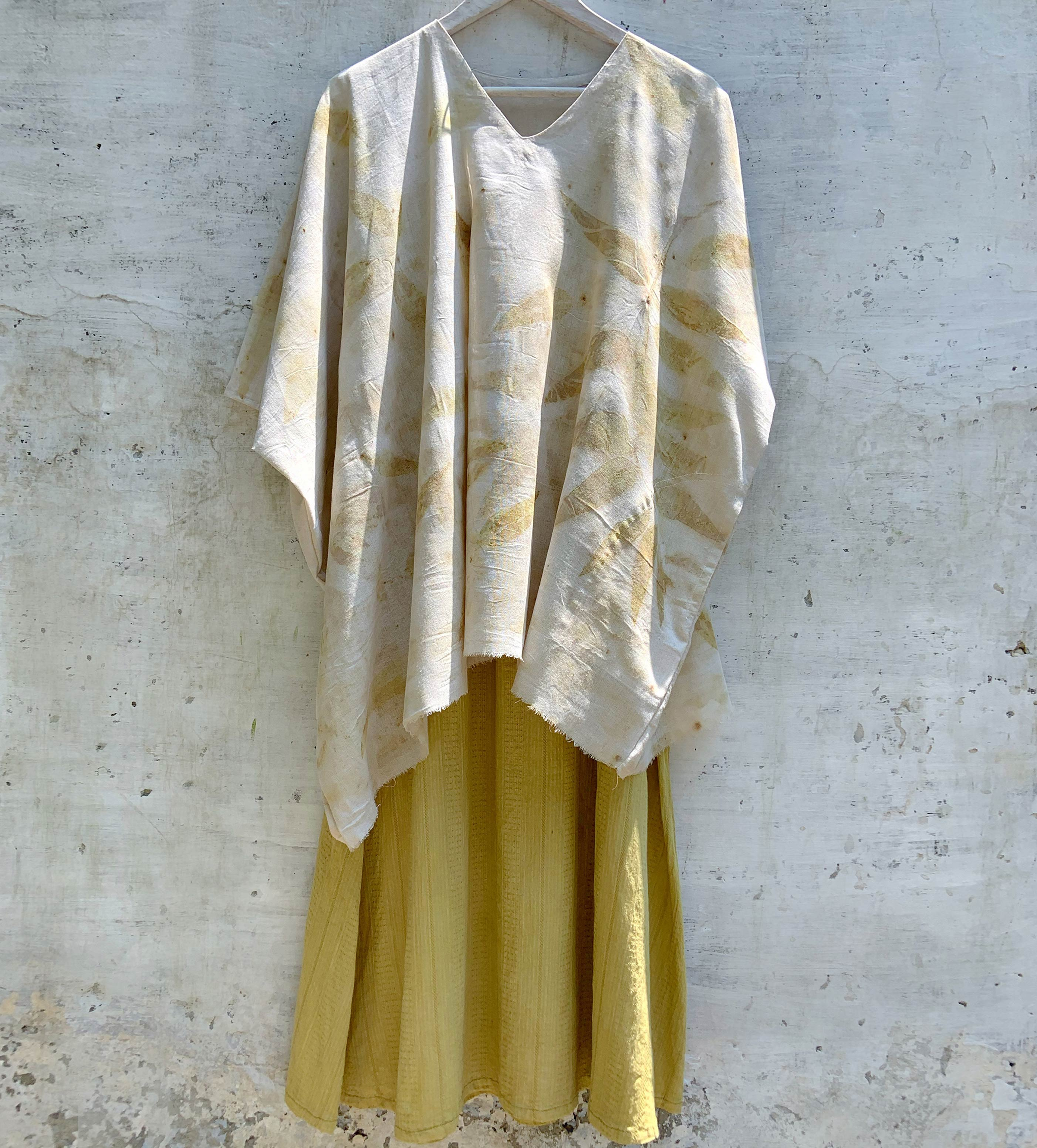 handloom kaftan eco printed with eucalyptus leaves