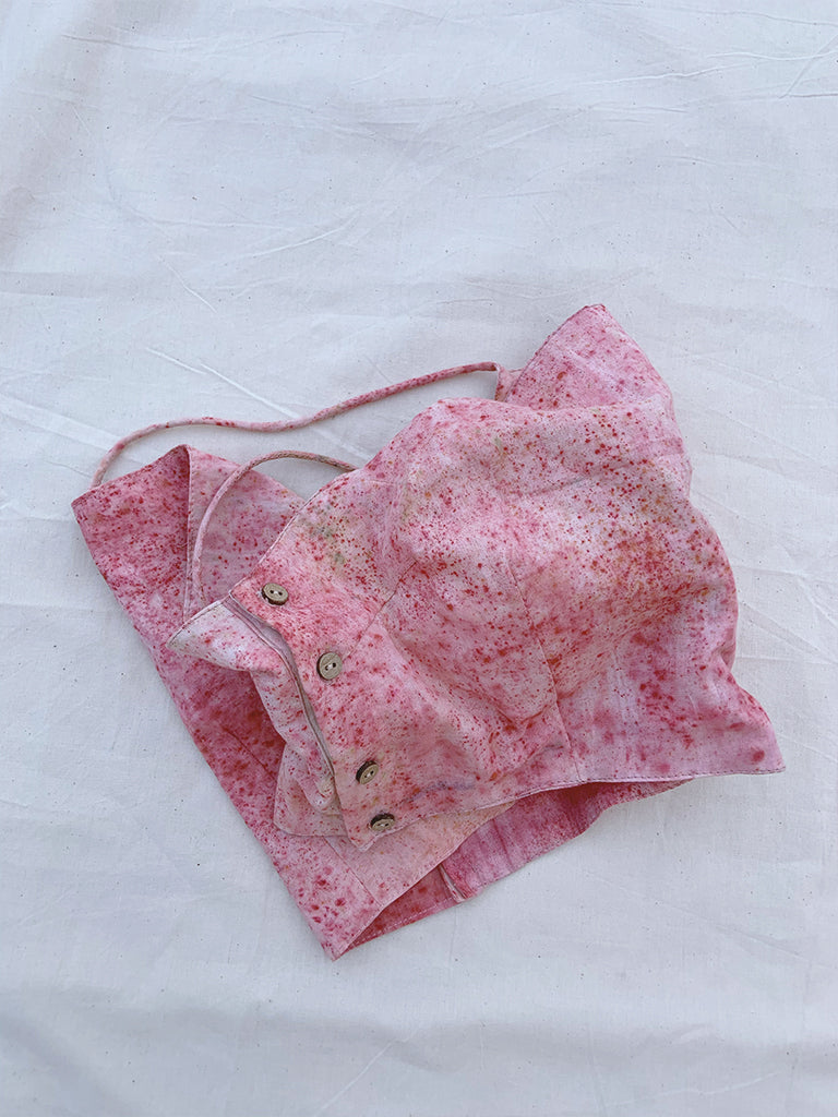 naturally dyed with Indian madder  pink hand made crop top