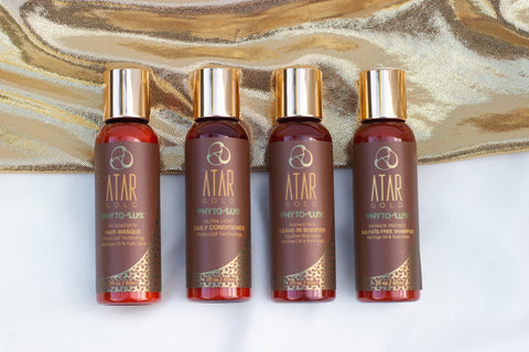 Atar Gold Sustainable Refillable Traveler with 2oz sizes of all Vegan Hair Care