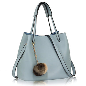 Blue Hobo Bag With Faux-Fur Charm