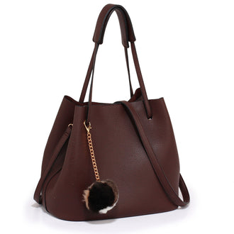 Brown Hobo Bag With Faux-Fur