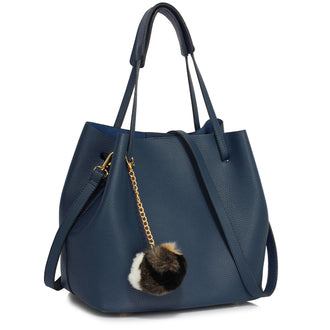 Navy Hobo Bag With Faux-Fur Charm
