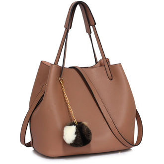 Nude Hobo Bag With Faux-Fur Charm