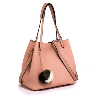 Pink Hobo Bag With Faux-Fur Charm