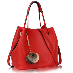 Red Hobo Bag With Faux-Fur Charm