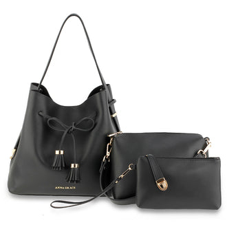 3 Pieces Set Black Women's Fashion Handbags