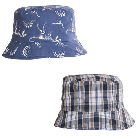Boys Reversible Skeleton Dinosaur Check Print Bush Hat