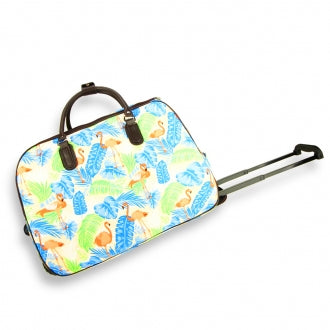 Blue Duck Print Travel Holdall Trolley Luggage With Wheels