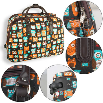 Brown Owl Print Travel Holdall Trolley Luggage With Wheels