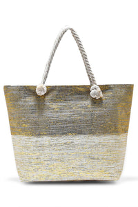 Metallic Thread Beach Bag Cream &Gold