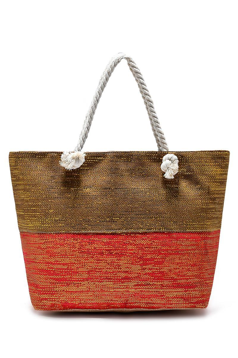 Metallic Thread Coral &Gold  Beach Bag