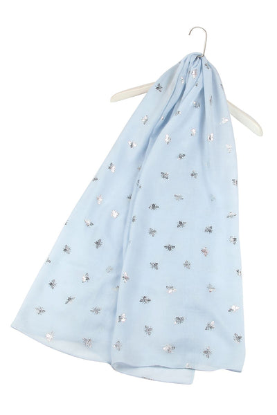 Silver Bee Print Cotton Scarf