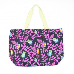 Bird Purple Print Beach Bag