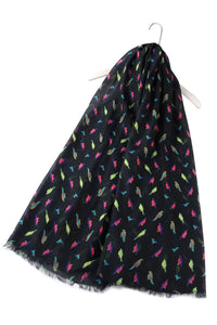 "X Bright Mini Bird Print Scarf ""Floral Scarves"""