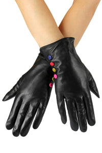 X Coloured Button Leather Gloves- BLACK  Leather Gloves