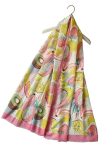 "X Colourful Picnic Fruit Print Frayed Scarf ""Floral Scarves"""