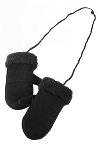 Cosy Plain Fur Lined Mittens- BLACK