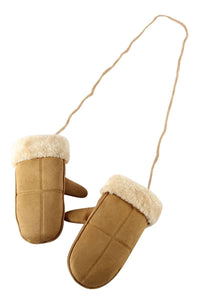 Cosy Plain Fur Lined Mittens- CAMEL