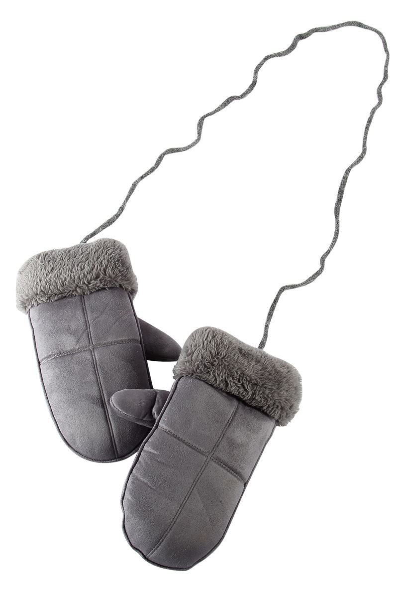 Cosy Plain Fur Lined Mittens- GREY