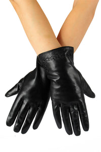 X Cross Stitch Detail Leather Gloves- BLACK  Leather Gloves