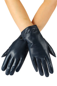 X Cross Stitch Detail Leather Gloves- NAVY BLUE  Leather Gloves
