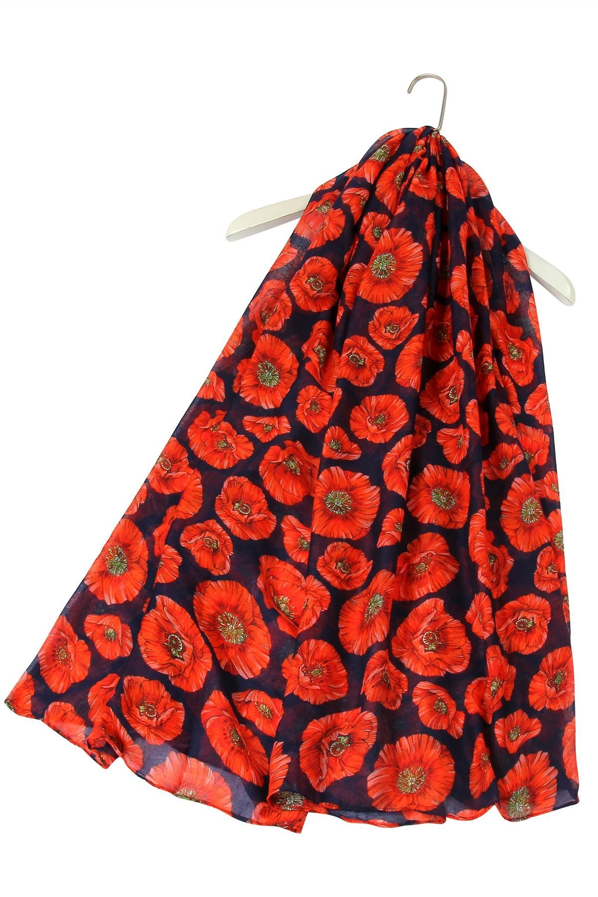 "X Detailed Poppy Print Scarf ( Navy Blue) ""Floral scarves"""