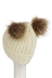 X Double Pom Pom Beanie Hat- CREAM  Woman Knitted  Hat