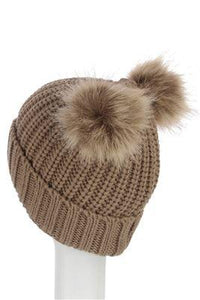 X Double Pom Pom Beanie Hat- LIGHT COFFE  Woman Knitted  Hat