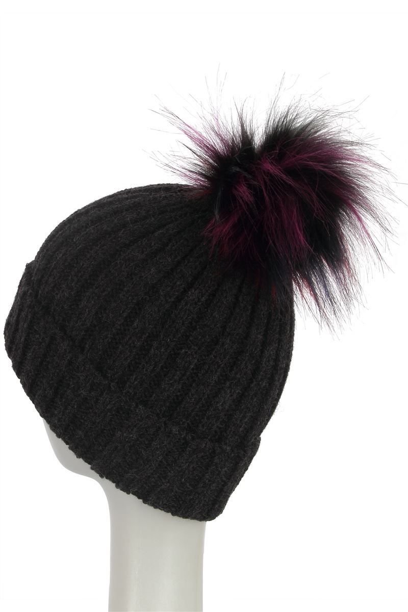 X Faux Fur Coloured Pom Pom Beanie Hat- BLACK Woman Knitted Hat