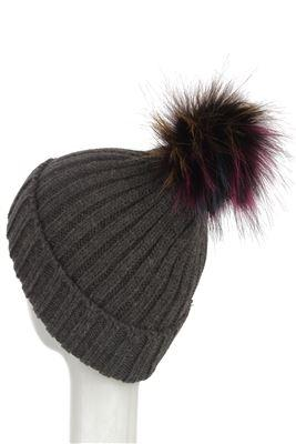 X Faux Fur Coloured Pom Pom Beanie Hat- CHARCOAL  Woman Knitted Hat