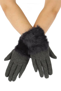 X Faux Fur Plain Gloves- GREY Woman Gloves