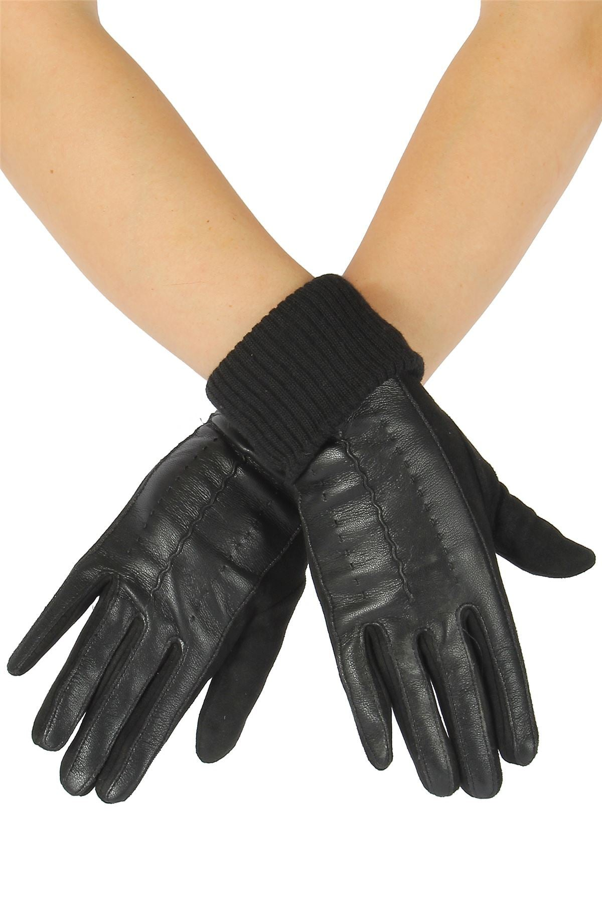 X Faux Leather _ Suede Style Gloves- BLACK Leather Gloves