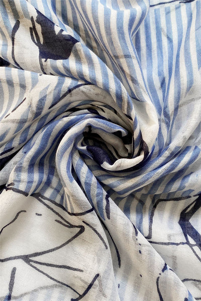 "X Floral Sketch And Stripe-Blue ""Floral scarves"""