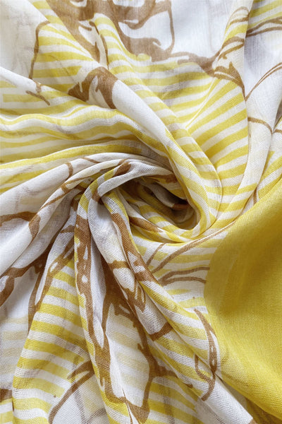 "X Floral Sketch And Stripe-Yellow ""Floral scarves"""