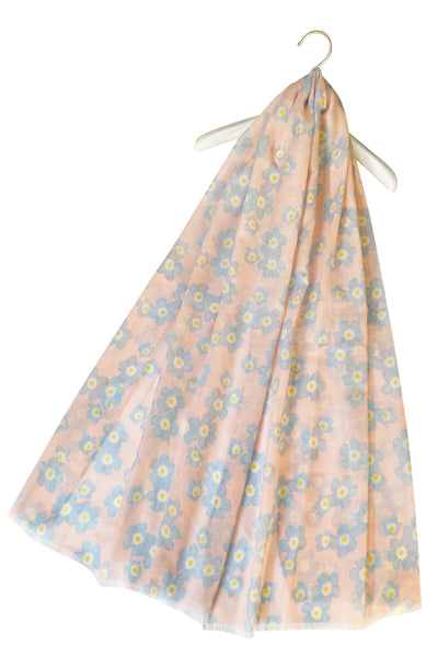 "X Forget Me Not Flower Print Frayed Scarf(Pink) ""Floral scarves"""