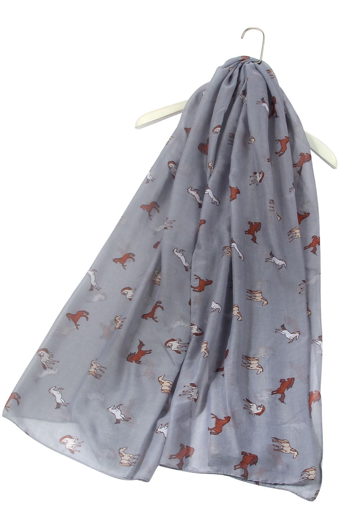 "X Galloping Horse Print Scarf( Grey) ""Floral scarves"""