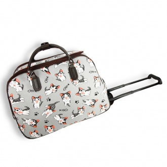 Grey Cat Print Travel Holdall Trolley Luggage With Wheels