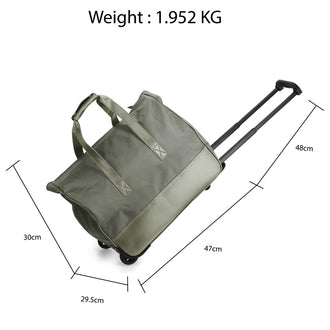 Grey Travel Holdall Trolley Luggage With Wheels