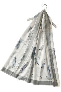 "X Heron Bird Print Frayed Scarf( White) ""Floral scarves"""